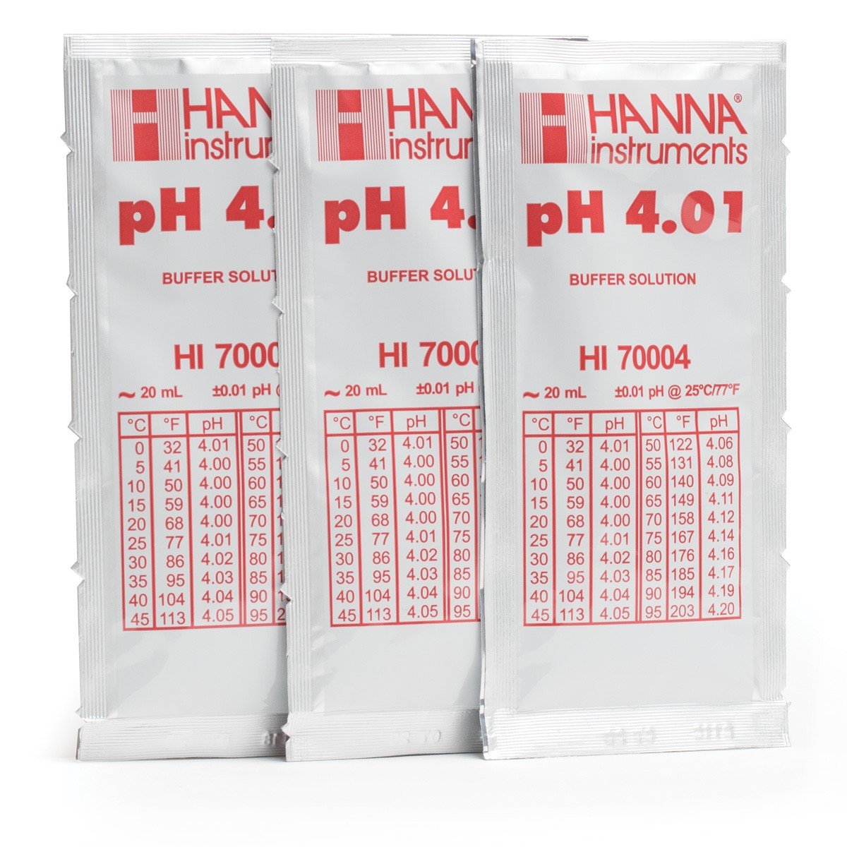HI70004P - pH 4.01 Calibration Buffer Sachets (25 x 20 mL)