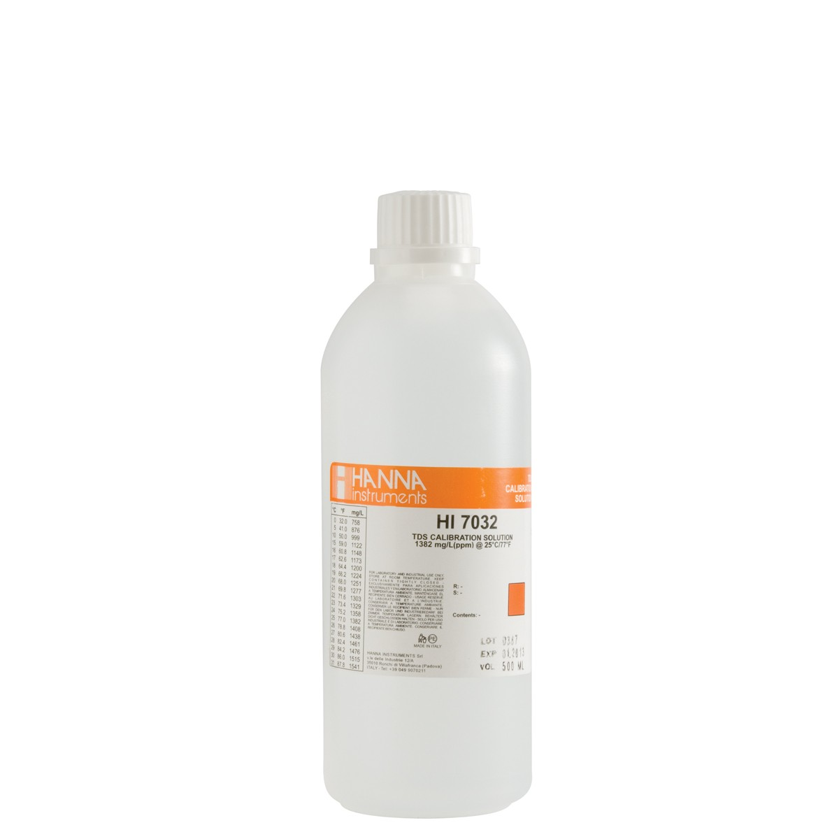 HI7032L - 1382 mg/L (ppm) TDS Calibration Solution (500mL Bottle)
