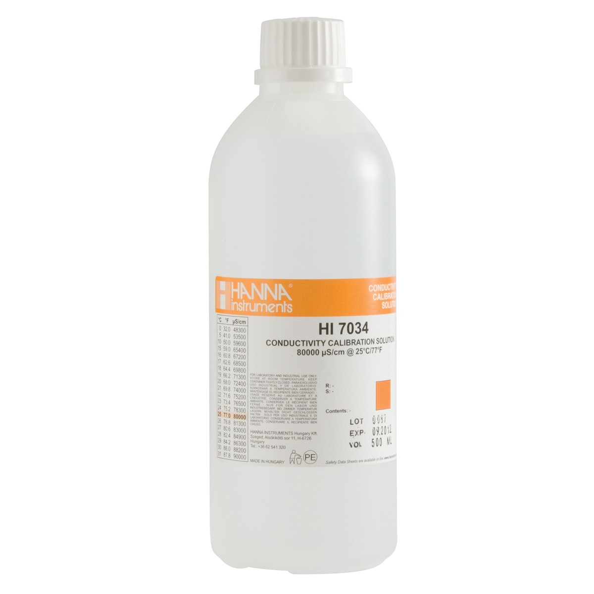 HI7034L -  80000 µS/cm Conductivity Standard (500mL Bottle)