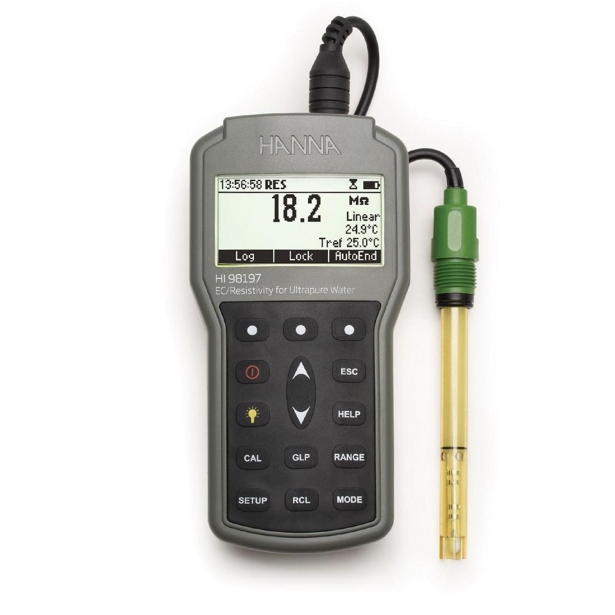 HI98197 - Ultra Saf Su İçin Su Geçirmez Taşınabilir  EC / Direnç Metre